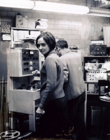 Alice Shields working with Rajko Macsimovic at the Columbia-Princeton Electronic Music Center in 1966